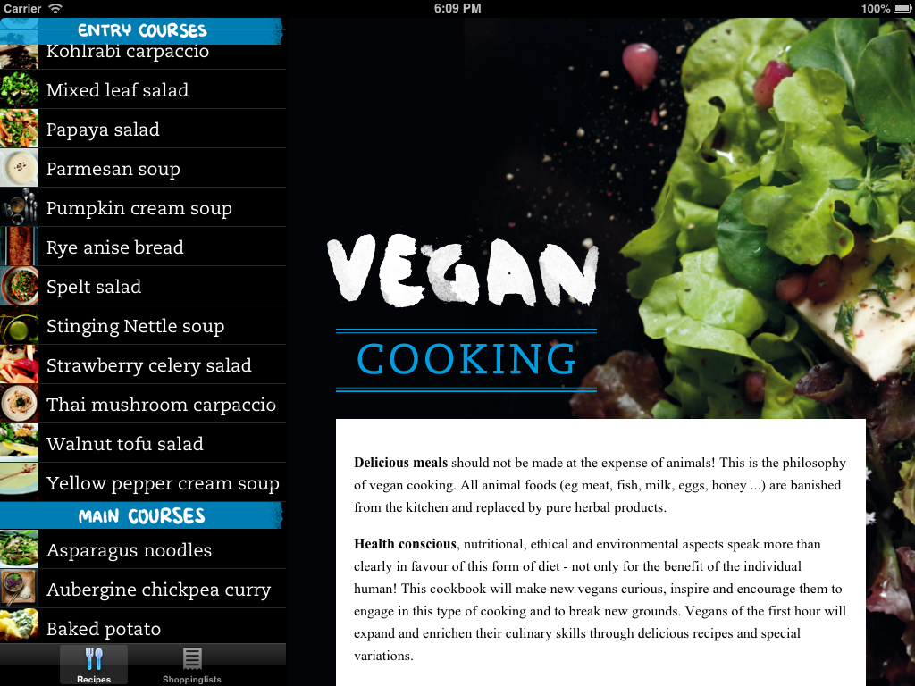 Vegan Cooking iPad iPhone Application